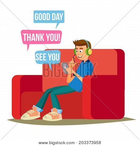 Teen Boy Vector. Happy Boy Communicate On Internet. Using Smartphone. Isolated On White Cartoon Character Illustration