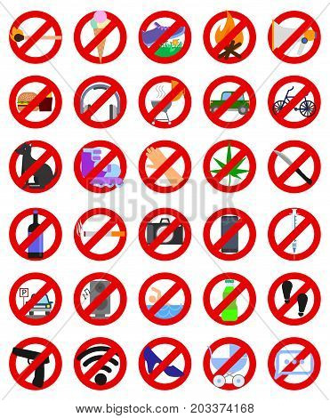 Prohibition signs elements collection, flat icons set, Colorful symbols pack contains. Vector illustration. Flat style design