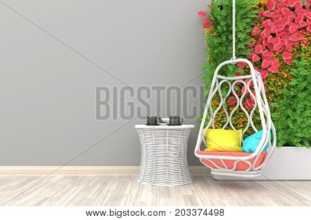 Autumn concept. White living room interior with white rattan armchair ,coffee cup and plants on empty white wall background.3d rendering.