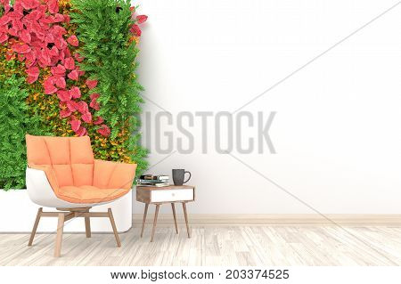 Autumn concept. White living room interior with light orange armchair ,coffee cup and plants on empty white wall background.3d rendering.