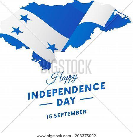 Banner or poster of Honduras independence day celebration. Honduras map. Waving flag. Vector illustration.