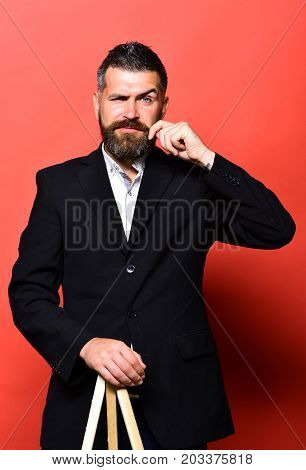 Professor With Stylish Hairdo And Confident Face. Man With Beard