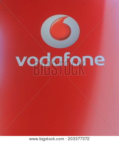 LISBON, PORTUGAL - JUNE 7, 2017: Vodafone logo. Vodafone Group - world famous British multinational telecommunication company. Global mobile operator, provide IT services for clients in many countries