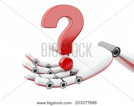 3D Illustration. Robotic Hand Showing Question Mark