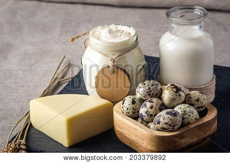 Eco Farm Products Milk, Cheese, Sour Cream, Yogurt, Eggs On Dark Wooden Background. Concept Of Home