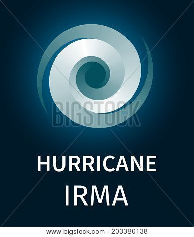 Graphic banner of hurricane Irma. Icon, sign, symbol of the hurricane, vortex, tornado