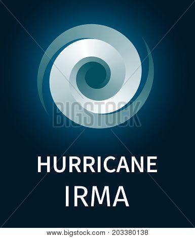 Graphic banner of hurricane Irma. Icon, sign, symbol of the hurricane, vortex, tornado