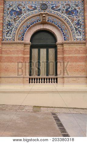 Decorative details of Palace Velasquez in Retiro park. Madrid Spain.