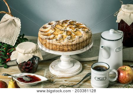 Apple Pie And Desserts On The Table. Tea Party In A Rustic Style. Sweet Autumn Still Life
