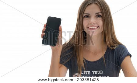 Beautiful girl with phone in hand on isolated white background