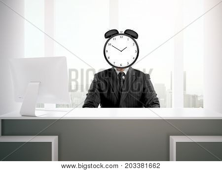 Abstract image of clock headed businessman sitting at reception desk with computer monitor. Due deadline concept. 3D Rendering