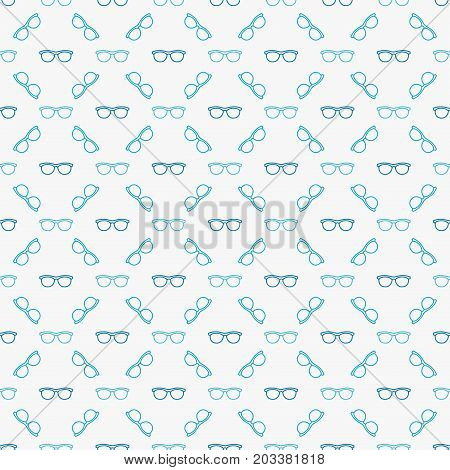 Glasses or spectacles vector blue seamless pattern or texture