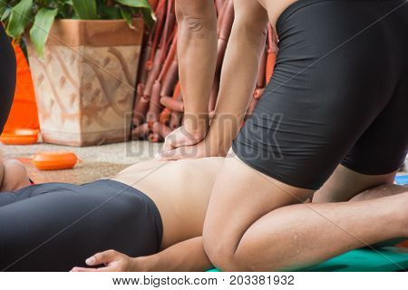 man chest compression cpr training victim drowning course
