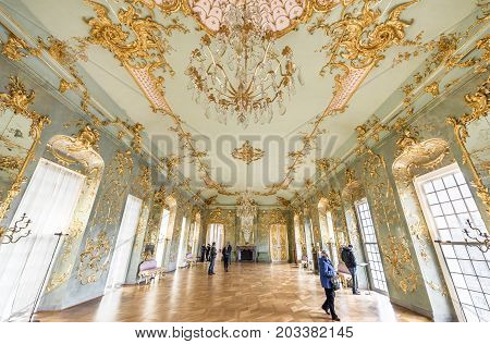 Berlin - March 2017: in the impressive halls of Charlottenburg palace