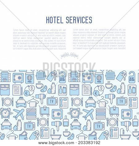 Hotel services concept with thin line icons of facilities in room. Vector illustration for banner, web page, print media.