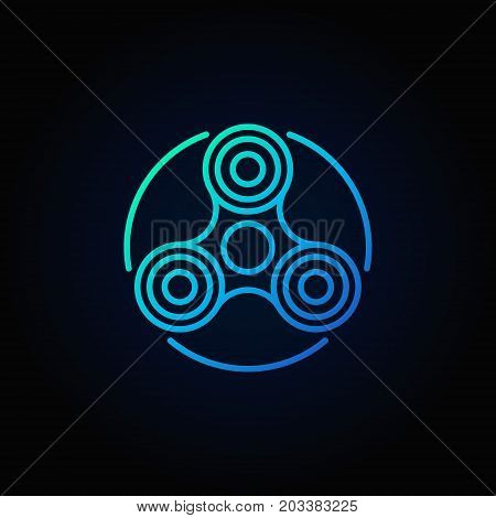 Hand fidget spinner blue icon - vector stress reducer toy concept symbol or logo element in thin line style on dark background