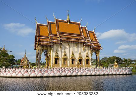 Buddhist pagoda part of temple complex Wat Plai Laem on Samui island. Thailand Koh Samui