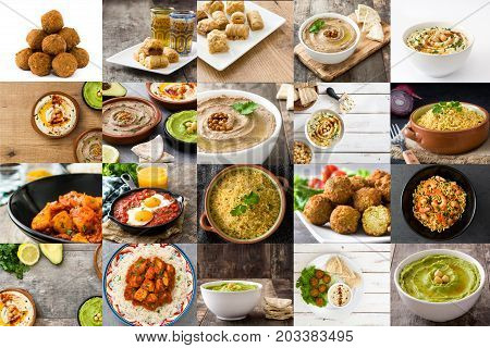 Traditional Middle East food collage. Oriental food