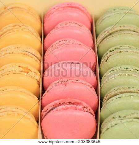 Macarons Macaroons Cookies Dessert In A Box Square From France