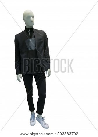 Full-length male mannequin dressed in suit over white background. No brand names or copyright objects.