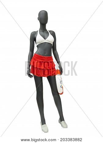 Full-length female mannequin dressed in swimwear (white bikini with red skirt). Isolated on white background. No brand names or copyright objects.