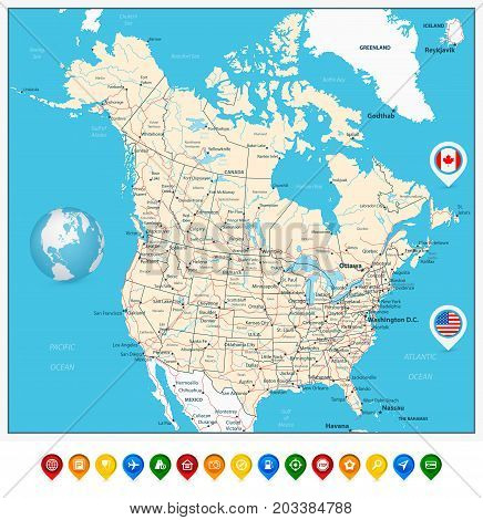 USA and Canada large detailed political map with map pointers states provinces and capital cities in USA and Canada.