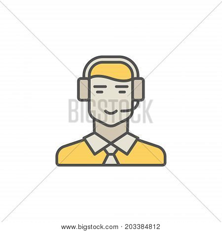 Call center operator colorful icon. Vector man in headset creative sign on white background