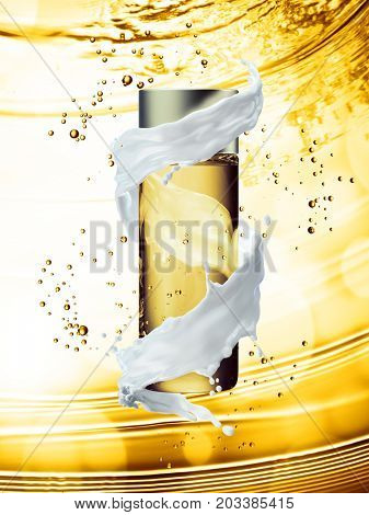 White cream bottle mock up of water splash golden color. 3D illustration
