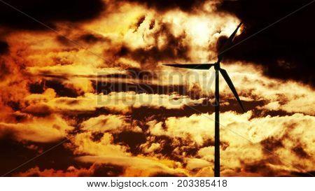 Wind Turbine at sunrise. 3d rendering