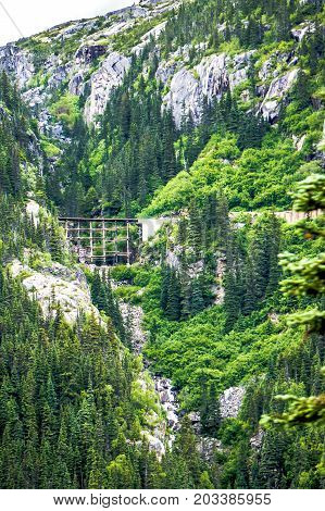 Skagway, Alaska, Usa - June 2017 - Alaskan Canadian White Pass Train Ride Attraction Through British