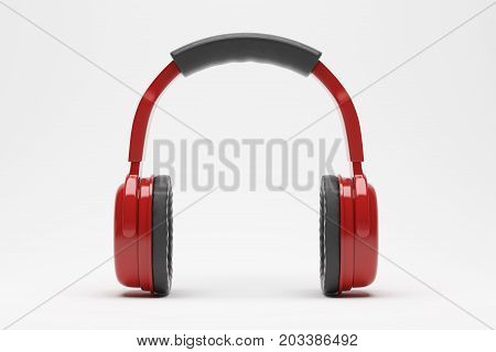 Red headphones or earphones on light background. Modern concept. 3D Rendering