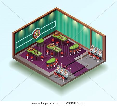 Casino isometric icon composition with gambling house room interior design gaming tables and slot machines vector illustration