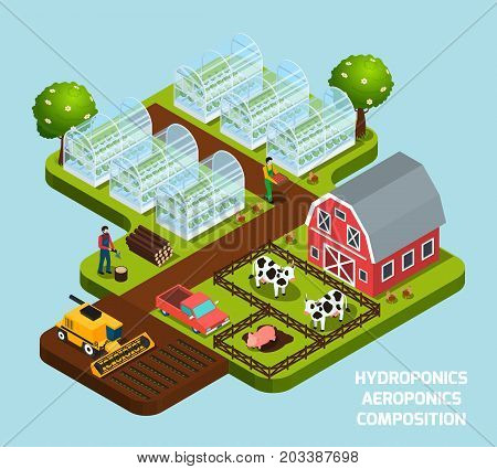Hydroponics and aeroponics isometric composition with farming and harvest symbols  vector illustration