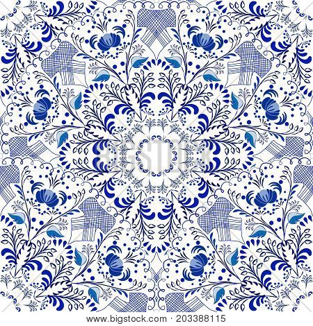 Seamless floral pattern in Gzhel style. Blue circular pattern on a white background. Vector illustration.