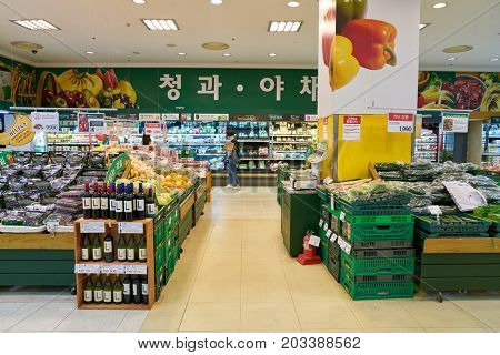BUSAN, SOUTH KOREA - CIRCA MAY, 2017: inside a supermarket in Busan.