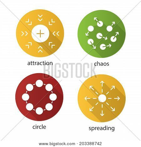 Abstract symbols flat design long shadow glyph icons set. Attraction, chaos, circle, spreading concepts. Vector silhouette illustration