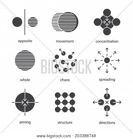 Abstract symbols glyph icons set. Silhouette symbols. Opposite, movement, concentration, whole, chaos, spreading, aiming, directions, structure. Vector isolated illustration