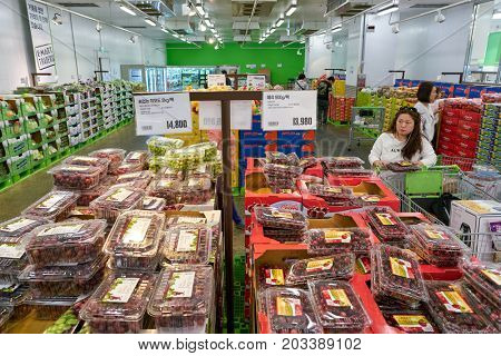 BUSAN, SOUTH KOREA - CIRCA MAY, 2017: inside E-Mart Traders in Busan. E-Mart Traders is a warehouse-style retail store that sells products directly imported from famous global brands.