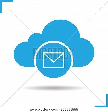 Cloud storage message icon. Drop shadow silhouette symbol. Cloud computing. Negative space. Vector isolated illustration