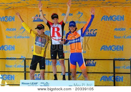 MT. BALDY, CA - MAY 21: Levi Leipheimer, Chris Horner, and Laurens Ten Dam share the podium after the 7th stage of the Amgen Tour of California Race on May 21, 2011 in Mt. Baldy, California.