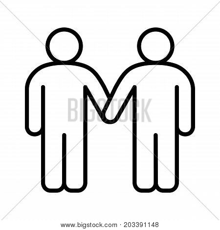 Gays linear icon. Homosexual couple thin line illustration. Two men holding hands contour symbol. Vector isolated outline drawing
