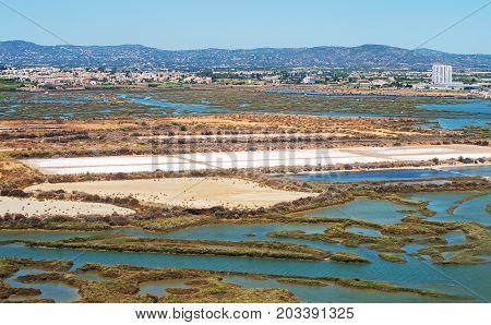 Production of sea salt in the Algarve region Portugal.