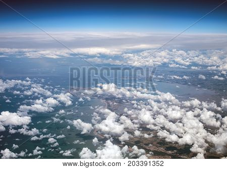Aerial view of Atlantic coast of France.