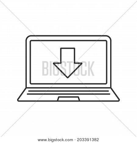 Laptop files download linear icon. Thin line illustration. Notebook with download arrow contour symbol. Vector isolated outline drawing