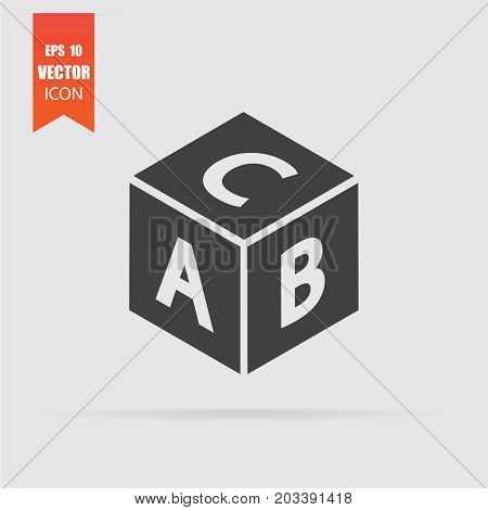 Abc Block Icon In Flat Style Isolated On Grey Background.