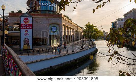 Aveiro Portugal - September 01 2017: Forum Aveiro on the banks of the river channel Aveiro Portugal.