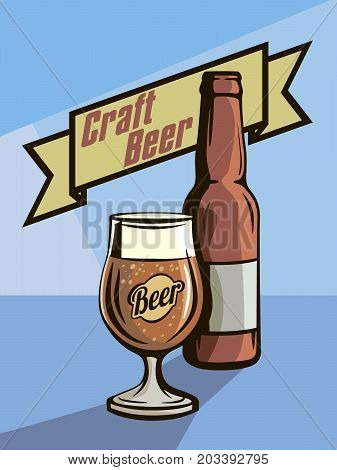 bottle and a full glass of beer. craft beer. oktoberfest