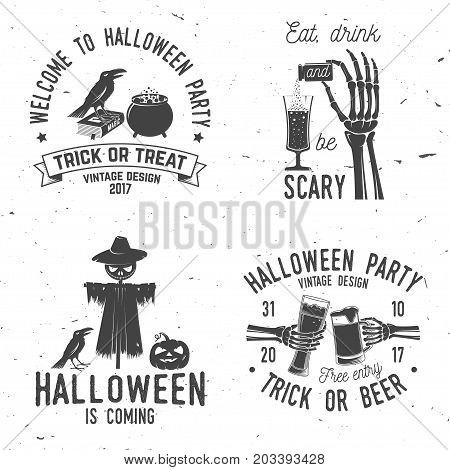 Set of Halloween vintage badges. Typography design with Skeleton hand, potion and glass of magic drink, scarecrow, raven and pumpkin. Happy Halloween- stock vector. For shirt, logo, print, stamp.