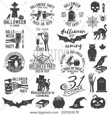 Set of Halloween party concept with design elements. Halloween party retro templates, badges, seals, patches. Concept for shirt or logo, print, stamp. Typography design- stock vector.