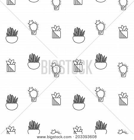 Black and white outlined cactus vector seamless pattern. Black cactus doodle on white background. Houseplant pattern tile. Cacti in pot surface design. Succu coloring page. Hipster succulent texture